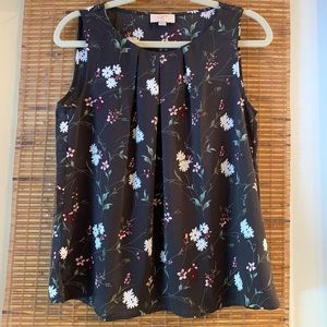Loft Grey floral sleeveless blouse